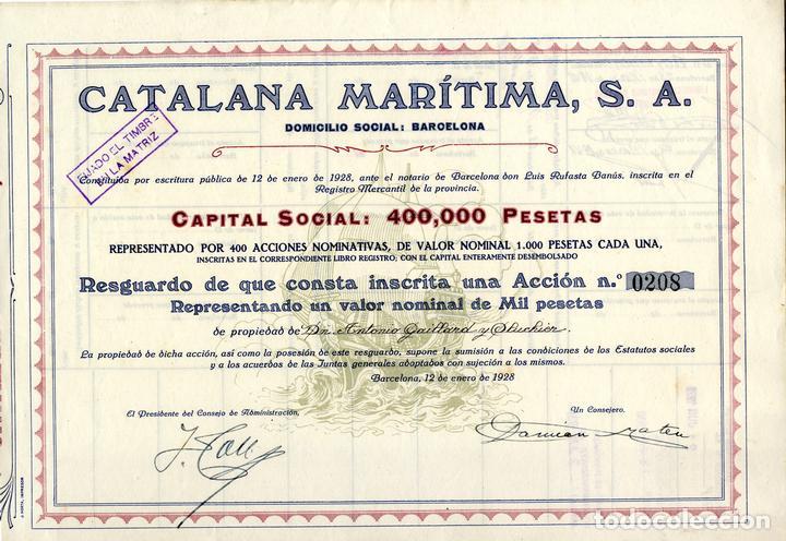 CATALANA MARITIMA - RESGUARDO ACCION 1928 (Coleccionismo - Acciones Españolas)