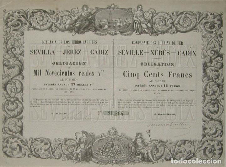 COMPAÑÍA DE LOS FERROCARRILES DE SEVILLA - JEREZ - CÁDIZ (1861) (Coleccionismo - Acciones Españolas)