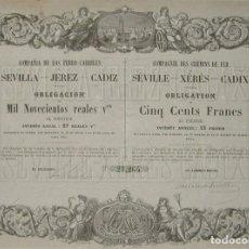 Coleccionismo Acciones Españolas: COMPAÑÍA DE LOS FERROCARRILES DE SEVILLA - JEREZ - CÁDIZ (1861). Lote 147688414