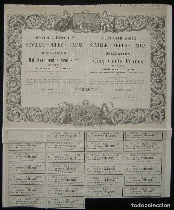 Coleccionismo Acciones Españolas: Compañía de los Ferrocarriles de Sevilla - Jerez - Cádiz (1861) - Foto 2 - 147688414