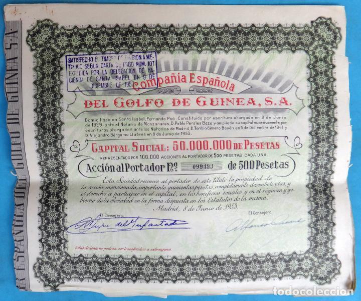 ACCION COMPAÑIA ESPAÑOLA DEL GOLFO DE GUINEA , 500 PESETAS , 1953 , ORIGINAL (Sammelleidenschaft Papier - Spanische Wertpapiere)