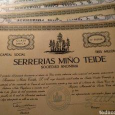 Coleccionismo Acciones Españolas: ACCIONES SERRERÍAS MIÑO TEIDE. Lote 147751502