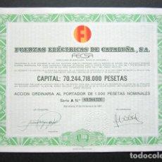 Coleccionismo Acciones Españolas: ACCIÓN FUERZAS ELÉCTRICAS DE CATALUÑA S.A. SERIE A. BARCELONA, 1981. . Lote 154987882