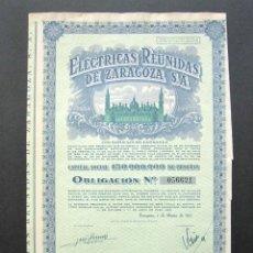 Coleccionismo Acciones Españolas: ACCIÓN ELÉCTRICAS REUNIDAS DE ZARAGOZA S.A. ZARAGOZA, 1953. . Lote 147860738