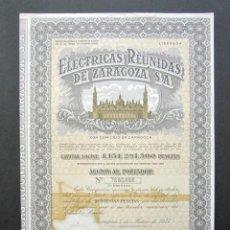 Colecionismo Ações Espanholas: ACCIÓN ELÉCTRICAS REUNIDAS DE ZARAGOZA S.A. ZARAGOZA, 1977.. Lote 196736376