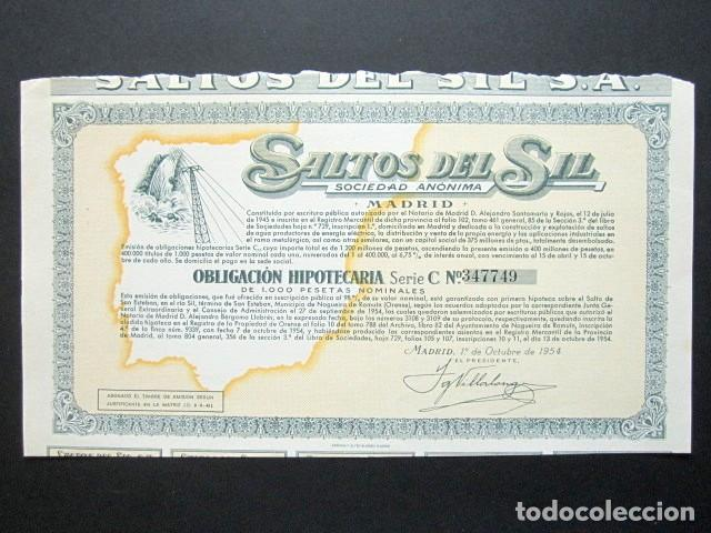 ACCIÓN SALTOS DEL SIL S.A. MADRID, 1954. (Coleccionismo - Acciones Españolas)