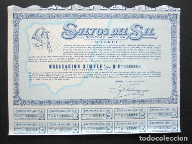 ACCIÓN SALTOS DEL SIL S.A. MADRID, 1965. (Coleccionismo - Acciones Españolas)