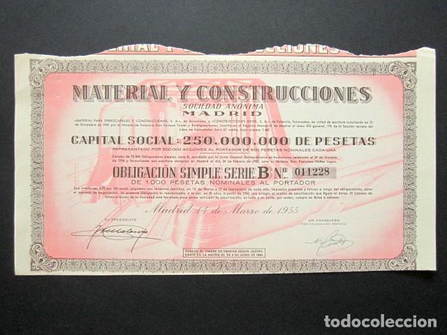 ACCIÓN MATERIAL Y CONSTRUCCIONES S.A. MADRID, 1955. (Coleccionismo - Acciones Españolas)