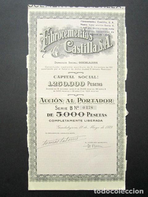 ACCIÓN FIBROCEMENTOS CASTILLA S.A. GUADALAJARA, 1932. (Coleccionismo - Acciones Españolas)