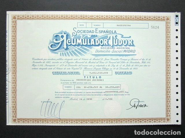 ACCIÓN SOCIEDAD ESPAÑOLA ACUMULADOR TUDOR S.A. MADRID, 1986. (Coleccionismo - Acciones Españolas)