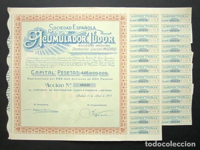 ACCIÓN SOCIEDAD ESPAÑOLA ACUMULADOR TUDOR S.A. MADRID, 1970. (Coleccionismo - Acciones Españolas)