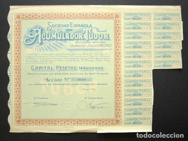 ACCIÓN SOCIEDAD ESPAÑOLA ACUMULADOR TUDOR S.A. MADRID, 1966. (Coleccionismo - Acciones Españolas)