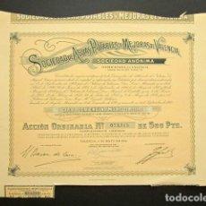 Coleccionismo Acciones Españolas: ACCIÓN SOCIEDAD DE AGUAS POTABLES Y MEJORAS DE VALENCIA. VALENCIA, 1956. . Lote 147907730
