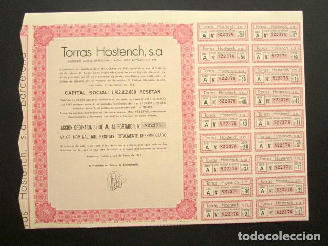 ACCIÓN TORRAS HOSTENCH S.A. BARCELONA, 1975. (Coleccionismo - Acciones Españolas)