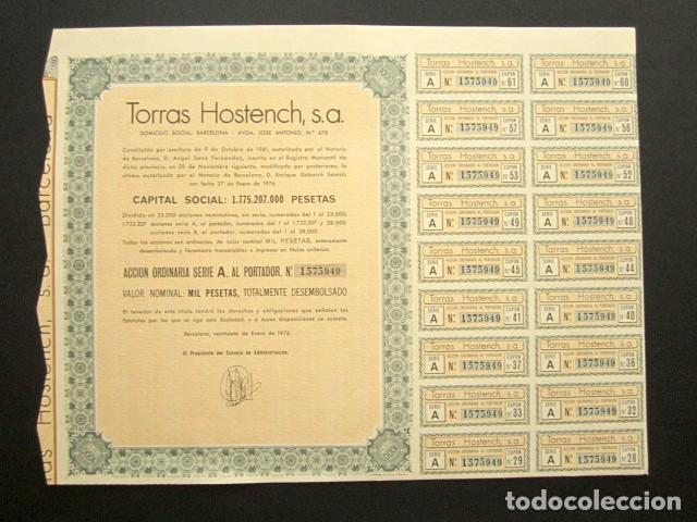 ACCIÓN TORRAS HOSTENCH S.A. BARCELONA, 1976. (Coleccionismo - Acciones Españolas)