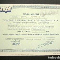 Coleccionismo Acciones Españolas: ACCIÓN COMPAÑIA INMOBILIARIA VALENCIANA. VALENCIA, 1989. Lote 147918842