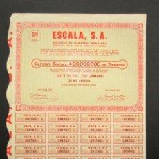 Coleccionismo Acciones Españolas: ACCIÓN ESCALA S.A. SOCIEDAD DE INVERSIÓN MOBILIARIA. VALENCIA, 1974. Lote 147920962