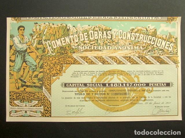 ACCIÓN FOMENTO DE OBRAS Y CONSTRUCCIONES. BARCELONA, 1981 (Coleccionismo - Acciones Españolas)