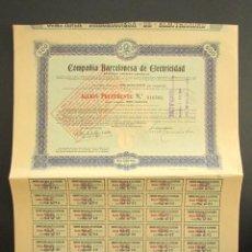 Coleccionismo Acciones Españolas: ACCIÓN COMPAÑÍA BARCELONESA DE ELECTRICIDAD. BARCELONA, 1914.. Lote 220355373