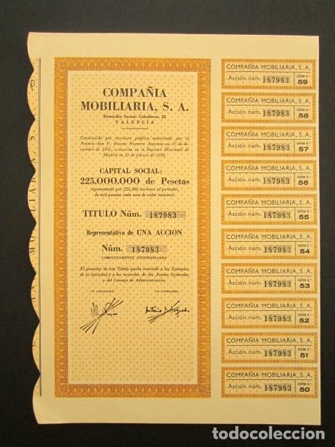 ACCIÓN COMPAÑIA MOBILIARIA S.A. VALENCIA, 1958 (Coleccionismo - Acciones Españolas)