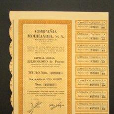 Coleccionismo Acciones Españolas: ACCIÓN COMPAÑIA MOBILIARIA S.A. VALENCIA, 1958. Lote 239493580