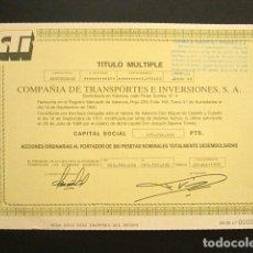 Coleccionismo Acciones Españolas: ACCIÓN COMPAÑÍA DE TRANSPORTES E INVERSIONES S.A. VALENCIA, 1988. . Lote 147974218