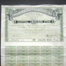 Coleccionismo Acciones Españolas: ACCIÓN COMPAÑÍA GENERAL VIDRIERA S.A. BARCELONA, 1915. . Lote 148031678