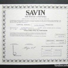 Colecionismo Ações Espanholas: ACCIÓN SAVIN S.A. SAN SEBASTIÁN, 1988. . Lote 148040770