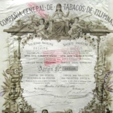 Coleccionismo Acciones Españolas: ACCIÓN COMPAÑIA GENERAL DE TABACOS DE FILIPINAS. BARCELONA, 1882. . Lote 148044178