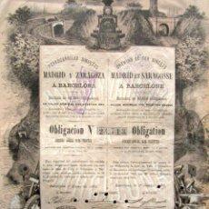 Coleccionismo Acciones Españolas: ACCIÓN FERROCARRILES DIRECTOS DE MADRID Y ZARAGOZA A BARCELONA. BARCELONA, 1883. . Lote 148044318
