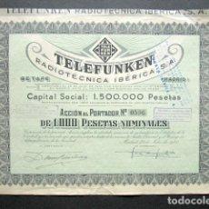Coleccionismo Acciones Españolas: ACCIÓN TELEFUNKEN RADIOTÉCNICA IBÉRICA S.A. MADRID, 1940. . Lote 148045326