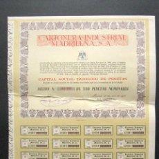 Coleccionismo Acciones Españolas: ACCIÓN CARTONERA INDUSTRIAL MADRILEÑA S.A. MADRID, 1973. . Lote 148052874