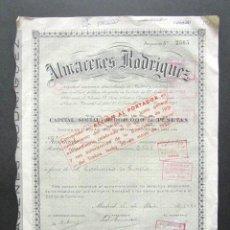 Coleccionismo Acciones Españolas: ACCIÓN ALMACENES RODRÍGUEZ. MADRID, 1921. . Lote 148053010