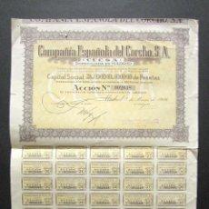 Coleccionismo Acciones Españolas: ACCIÓN COMPAÑÍA ESPAÑOLA DEL CORCHO S.A. MADRID, 1946. . Lote 148053114