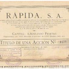 Coleccionismo Acciones Españolas: RAPIDA 1923. Lote 148053886