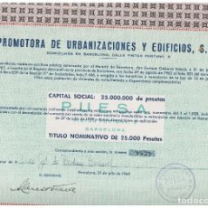 Coleccionismo Acciones Españolas: PROMOTORA DE URBANIZACIONES Y EDIFICIOS . Lote 148054058