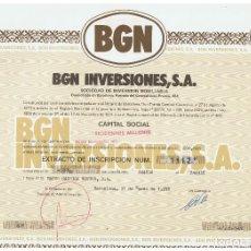 Coleccionismo Acciones Españolas: BGN INVERSIONES. Lote 148055470