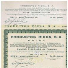 Coleccionismo Acciones Españolas: PRODUCTOS RIERA SA. Lote 148085338