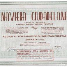 Coleccionismo Acciones Españolas: NAVIERA CIUDADELANA. Lote 148085970