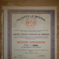 Coleccionismo Acciones Españolas: ACCIÓN - CALZADOS LA IMPERIAL - 9 DE MARZO DE 1923. Lote 148111814