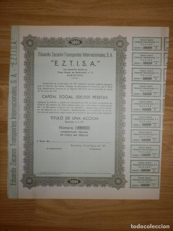 ACCIÓN - EDUARDO ZACARINI TRANSPORTES INTERNACIONALES, S.A. - E.Z.T.I.S.A - 14 ENERO DE 1971 (Coleccionismo - Acciones Españolas)