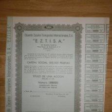 Coleccionismo Acciones Españolas: ACCIÓN - EDUARDO ZACARINI TRANSPORTES INTERNACIONALES, S.A. - E.Z.T.I.S.A - 14 ENERO DE 1971. Lote 148112130