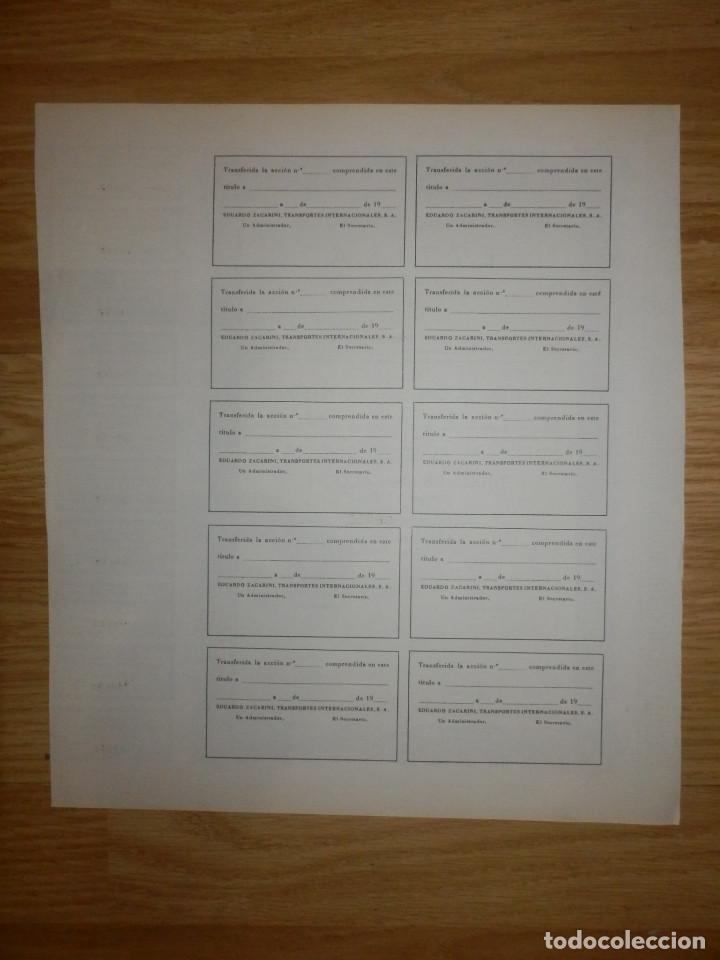 Coleccionismo Acciones Españolas: Acción - Eduardo Zacarini Transportes Internacionales, s.a. - E.Z.T.I.S.A - 14 Enero de 1971 - Foto 2 - 148112130