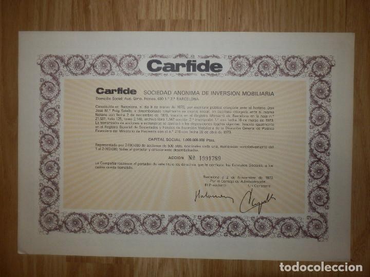 ACCIÓN - CARFIDE - SOCIEDAD ANÓNIMA DE INVERSIÓN INMOBILIARIA - 2 DE NOVIEMBRE DE 1973 - (Coleccionismo - Acciones Españolas)