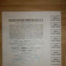 Coleccionismo Acciones Españolas: ACCIÓN - COMPLEMENTOS INDUSTRIALES, S.A. - 15 DE FEBRERO DE 1966. Lote 148112234