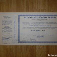 Coleccionismo Acciones Españolas: ACCIÓN - GRAFICAS OFFSET SOCIEDAD ANÓNIMA - 1976 -. Lote 148112718