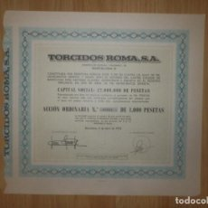 Coleccionismo Acciones Españolas: ACCIÓN - TORCIDOS ROMA, S.A. - 5 DE ABRIL DE 1970 -. Lote 148112846