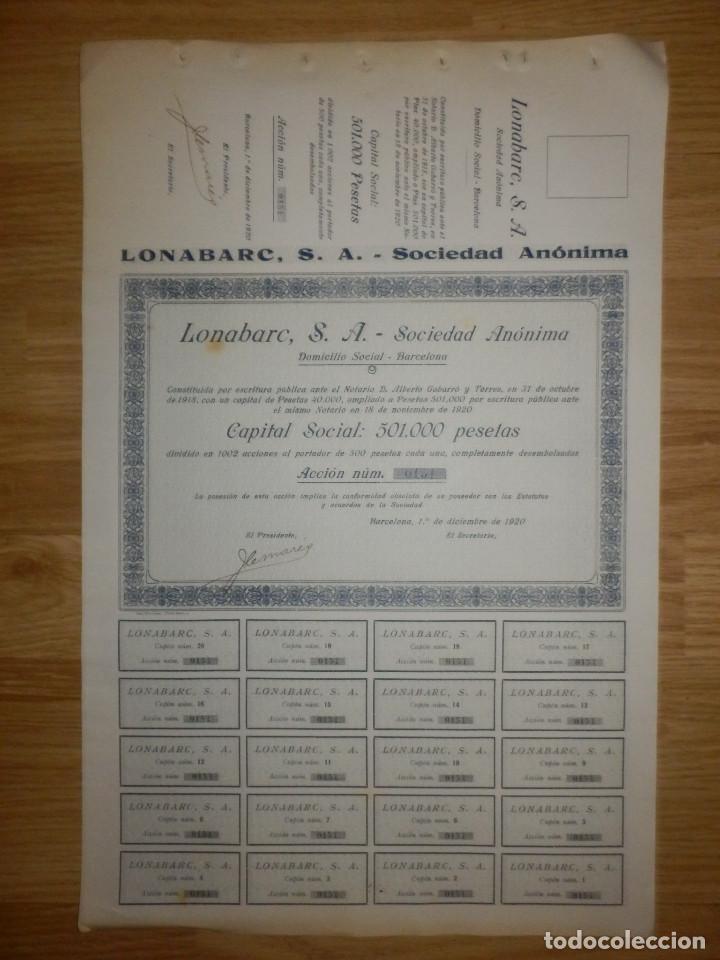 ACCIÓN - LONABARC, S.A. - 1 DE DICIEMBRE DE 1920 - (Coleccionismo - Acciones Españolas)