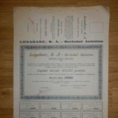 Coleccionismo Acciones Españolas: ACCIÓN - LONABARC, S.A. - 1 DE DICIEMBRE DE 1920 -. Lote 148112886