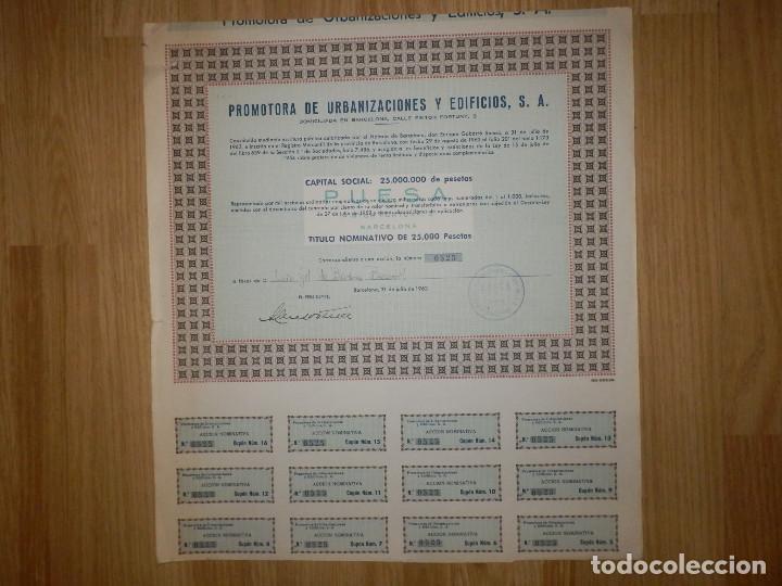 ACCIÓN - PROMOTORA DE URBANIZACIONES Y EDIFICIOS, S.A. - 31 DE JULIO DE 1962 - (Coleccionismo - Acciones Españolas)